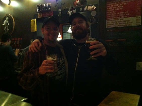 Anders and brewer-slash-metal head Chris Kirk grab a pint in the taproom.
