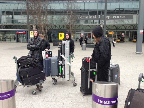 Arrived in Heathrow, trying to find our tourmanager/driver