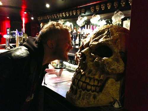 David is challenging the mutant skull for an angry face...