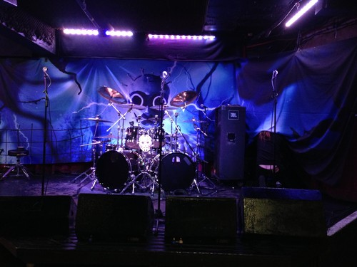Stage setup in The Borderline, soundcheck