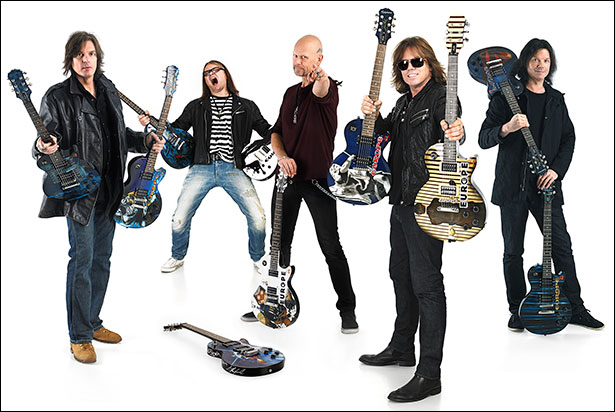 Europe: (L-R) – John Leven (bass), Mic Michaeli (keyboards), Ian Haugland (drums), Joey Tempest (vocals) John Norum (guitar)