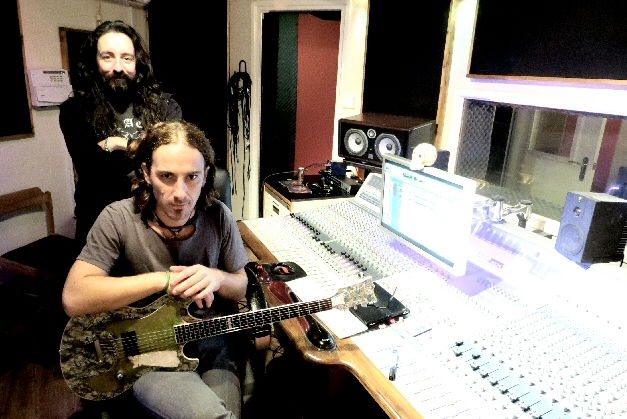 Fabian and Russ Russell in the studio
