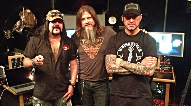 Hard at work: Hellyeah in the studio with Chenko