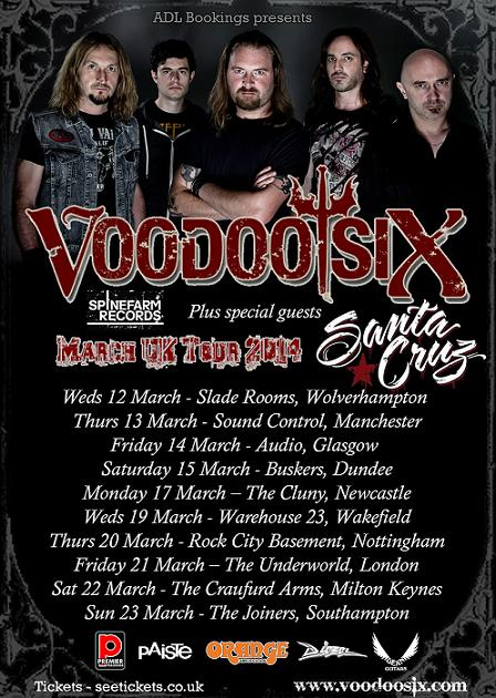Voodoo Six UK Tour - March 2014