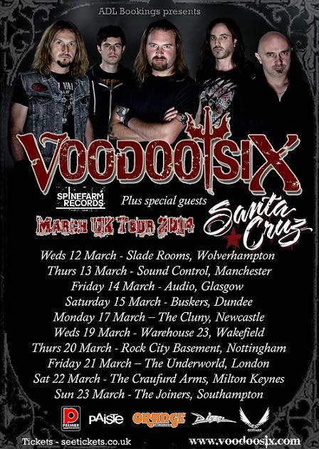 Voodoo Six UK Tour - March 2014