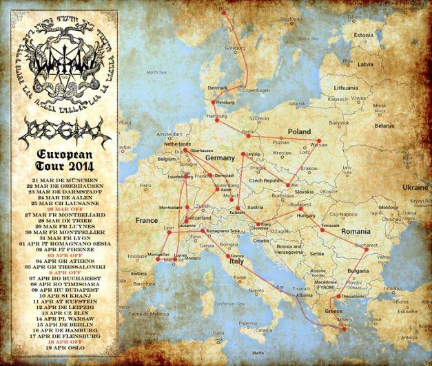 WatainEuropeanTourMap