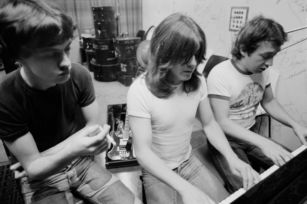 George, Malcolm and Angus Young in the studio (photo by Philip Morris)