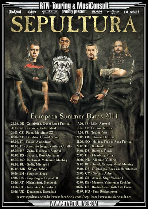 SEPULTURA – Summer tour 2014 confirmed