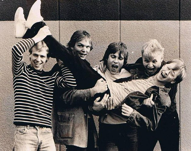 Fredrik (second from left) and Olle (far right) with Tricky Track,  circa mid-1980s