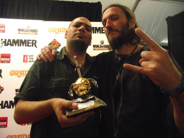 Abed Hathout (KHALAS), Kobi Farhi (ORPHANED LAND) Global Metal Act Golden God Winners 2014