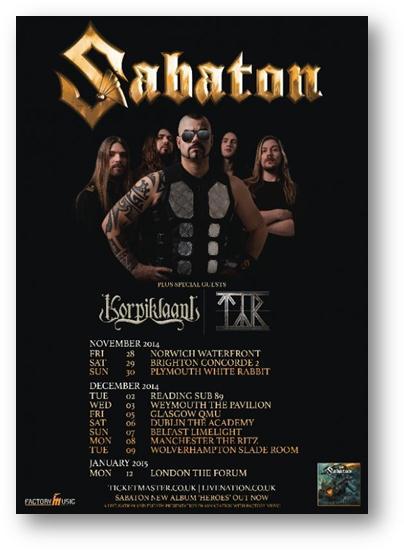 Sabaton UK Tour