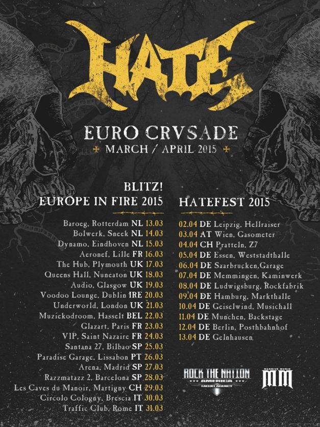 VADER Announced Show Dates For Blitz Over Europe Tour - European tours 2015