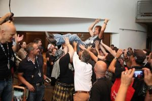 Peter Baltes stage dive