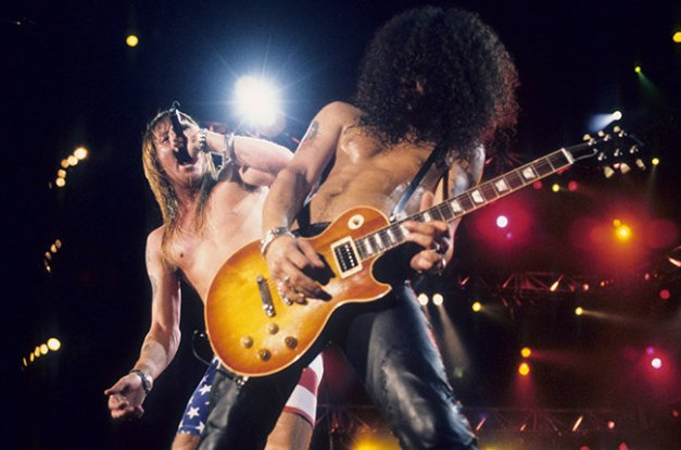 Axl Rose and Slash of Guns N Roses perform live at Rock In Rio II on January 15, 1991 in Rio De Janeiro, Brazil.(Photo by Ke.Mazur/WireImage)