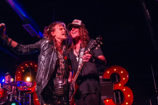 "Pictured (L-R): Steven Tyler and Jaren Johnston share vocals on ""Sweet Emotion"" Photo Credit: Jessica Wardwell"