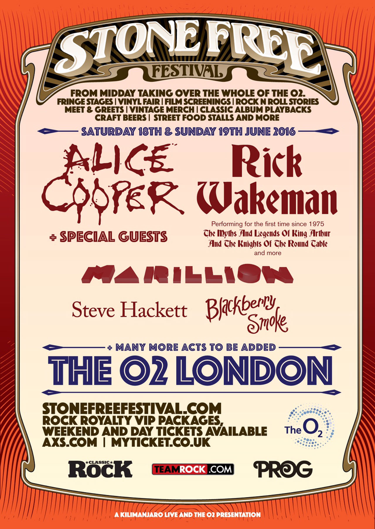 Alice Cooper Rick Wakeman To Headline Stone Free Festival 2016