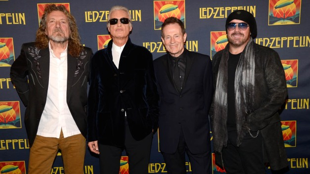 """NEW YORK, NY - OCTOBER 09:  (Exclusive Coverage) Robert Plant, Jimmy Page, John Paul Jones and Jason Bonham attend the premiere of  """"Led Zeppelin:  Celebration Day"""" at Ziegfeld Theatre on October 9, 2012 in New York City. Led Zeppelin's John Paul Jones, Jimmy Page, and Robert Plant along with Jason Bonham attend premiere of Celebration Day at Ziegfeld Theatre in New York. Celebration Day captures their 2007 tribute concert for Atlantic Records Founder Ahmet Ertegun at London's O2 Arena. Film will be released worldwide on October 17, 2012 by Omniverse Vision on 1,500 screens in over 40 territories, it will then be available in multiple video and audio formats on November 19, 2012.  (Photo by Kevin Mazur/Getty Images)"""