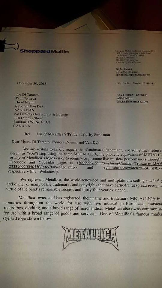 Metallica Lawsuit Letter