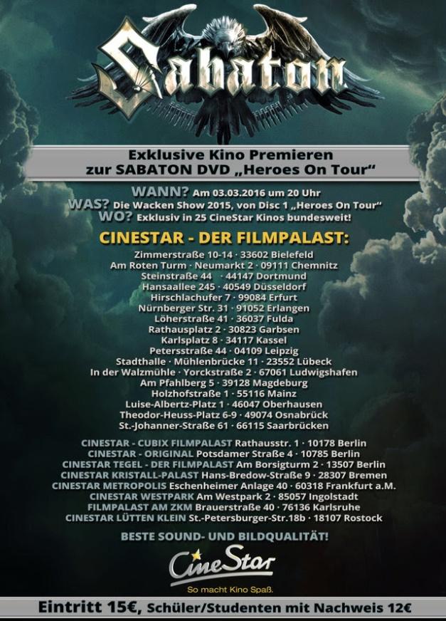 Sabaton Cinestar Heroes On Tour