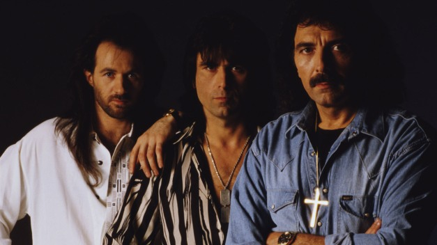 English rock band, Black Sabbath, circa 1990. L-R: Tony Martin, Cozy Powell, and Tommy Iommi. (Photo by Tony Mottram/Getty Images)