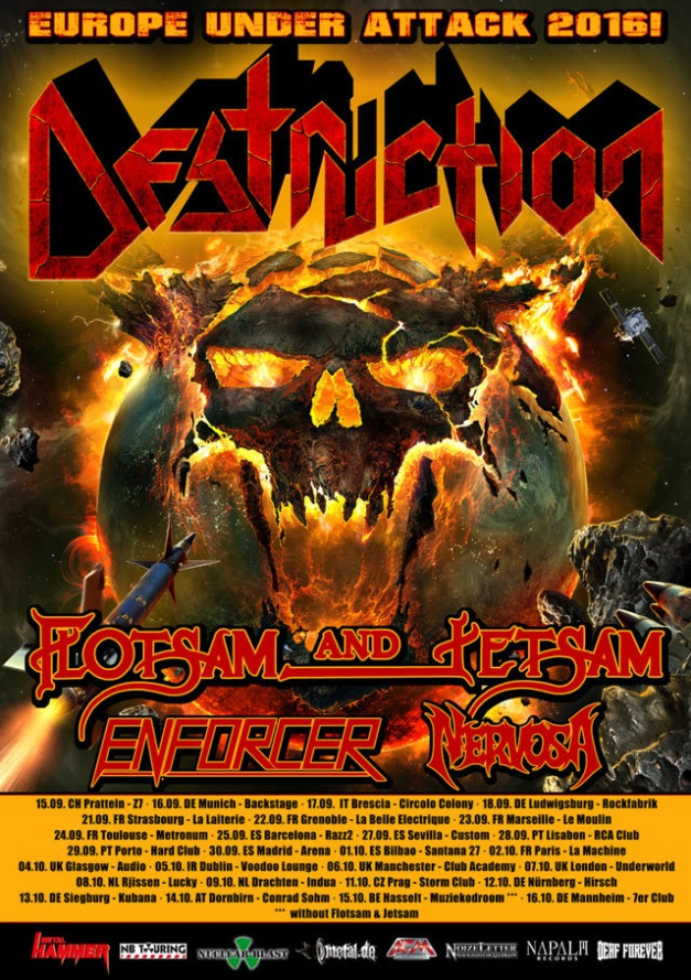 Destruction European tour 2016