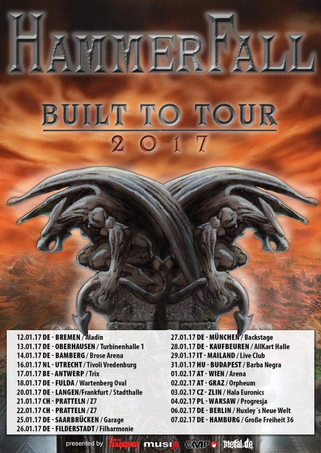 Hammerfall Built To Tour 2017