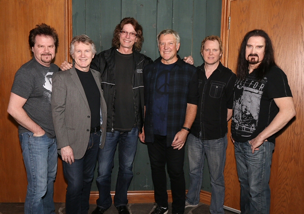 Rik Emmett with Alex Lifeson, James LaBrie, Gil Moore, Dave Dunlop and Steve Skingley - Photo by Mark Weiss