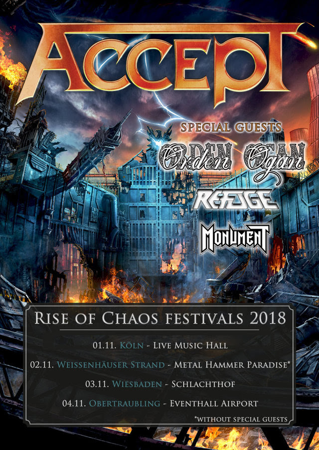 Accept Rise Of Chaos Festivals 2018