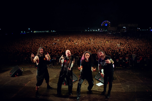 L-R:  Paul Bostaph,  Kerry King, Tom Araya, Gary Holt